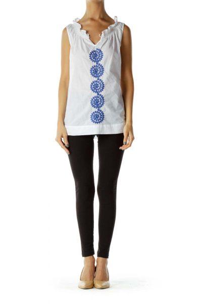 White Blue Embroidered Sleeveless Blouse