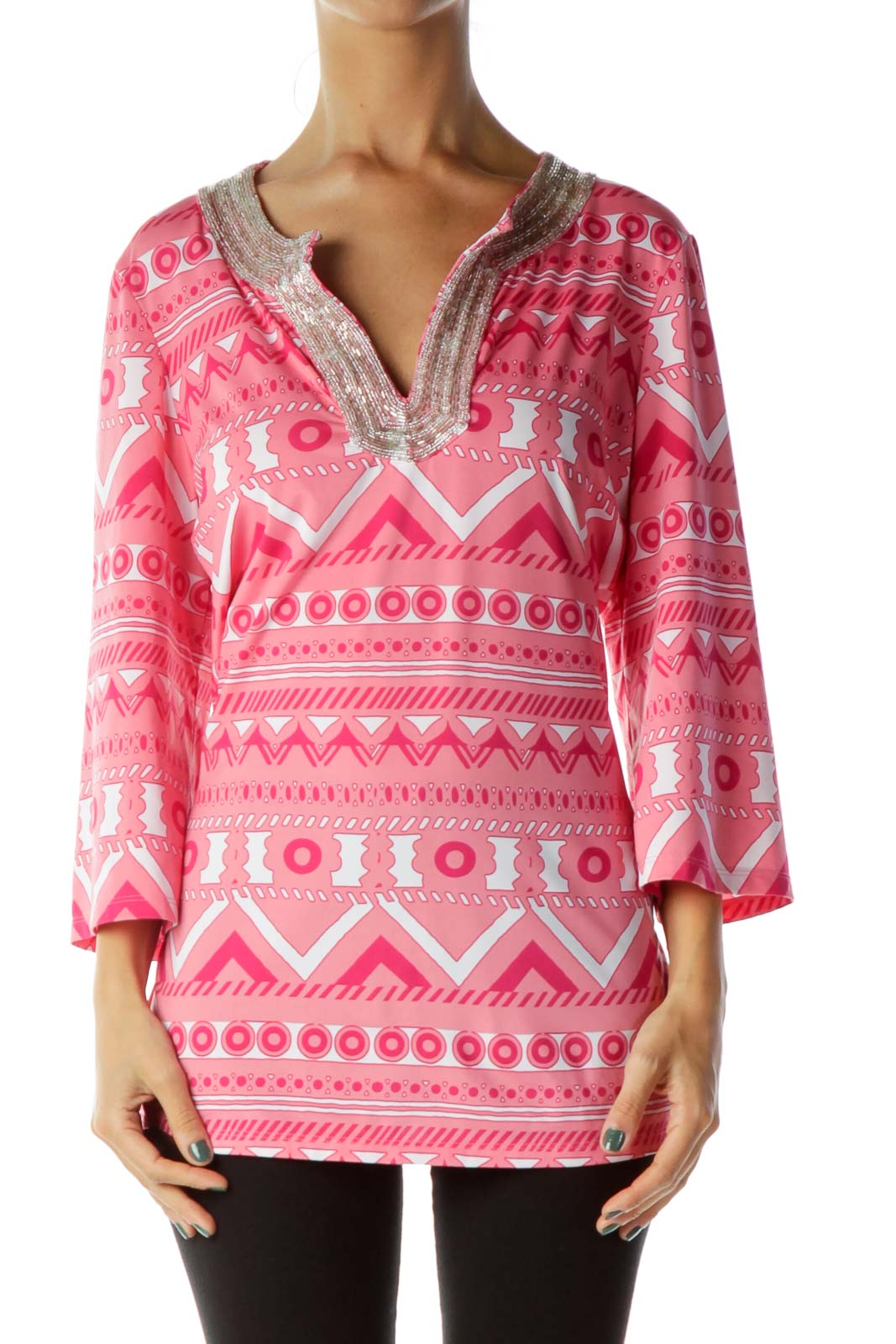 Pink White Beaded Blouse