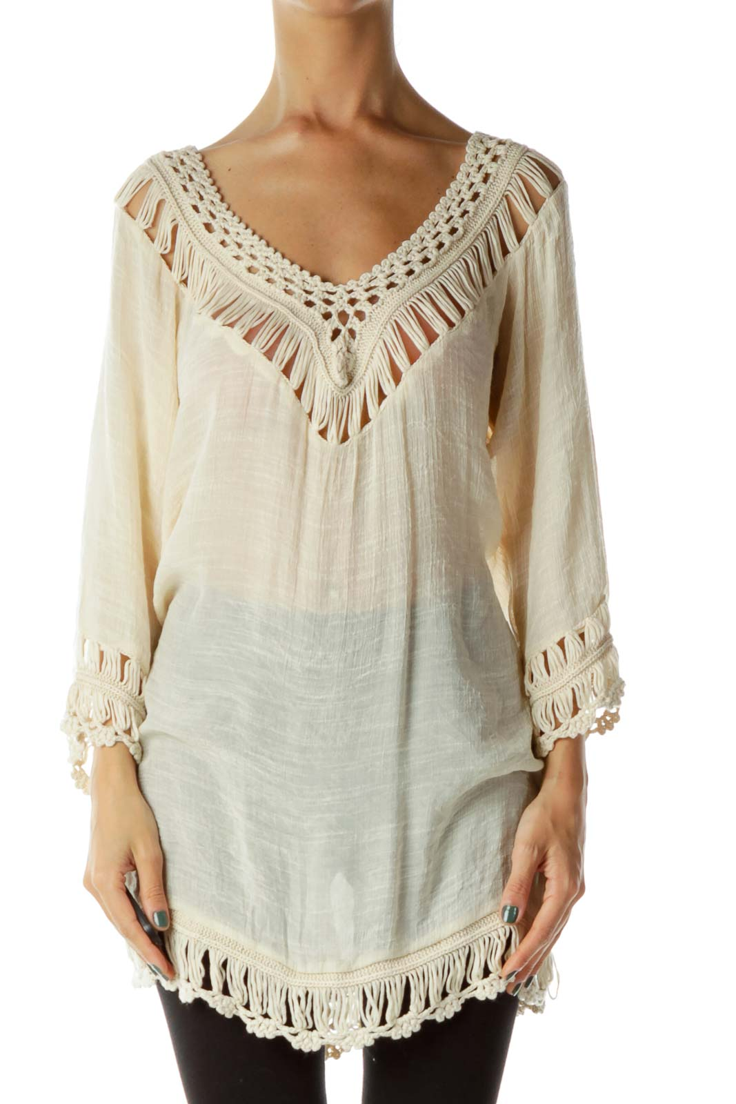 Beige Crocheted Blouse
