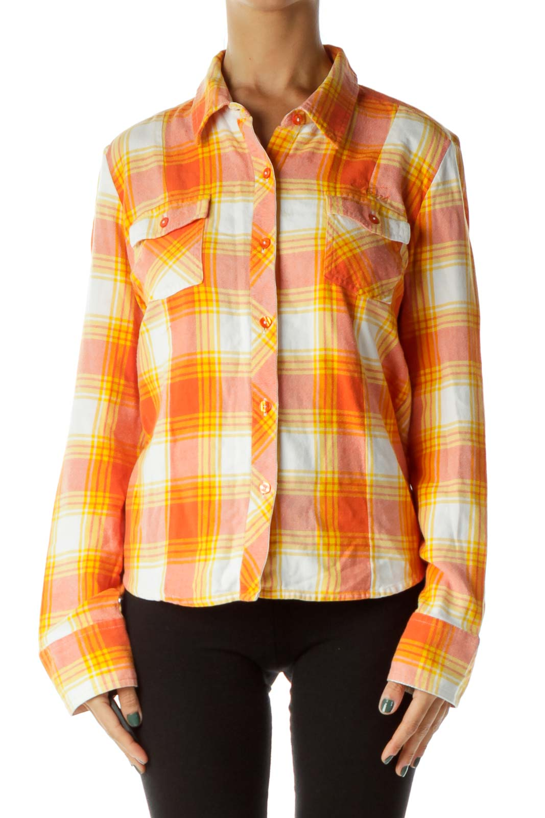 Orange Yellow Plaid Shirt