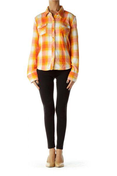 Orange Yellow Plaid Shirt