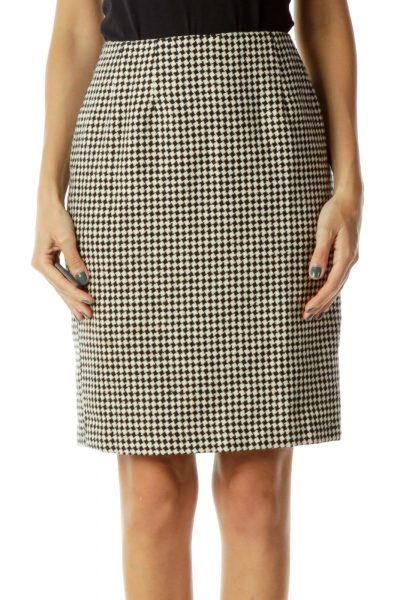 Beige Black Houndstooth Pencil Skirt