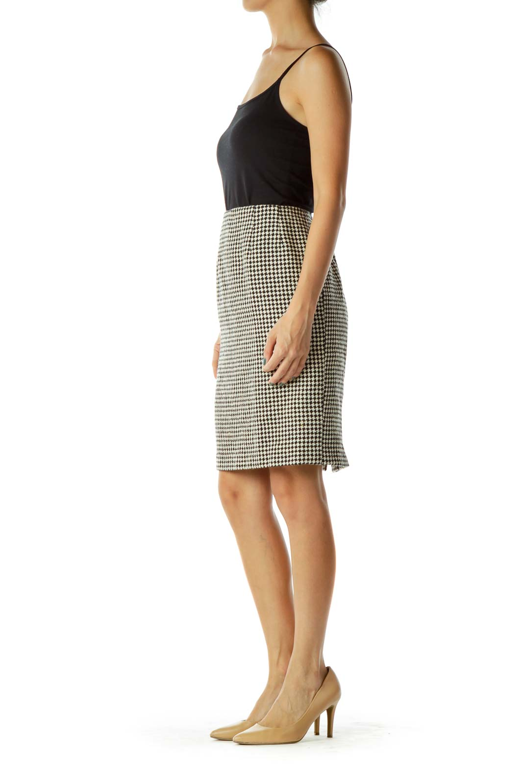 Beige Black Houndstooth Pencil Skirt