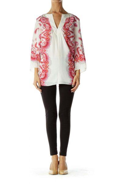 Pink White Silk Blouse