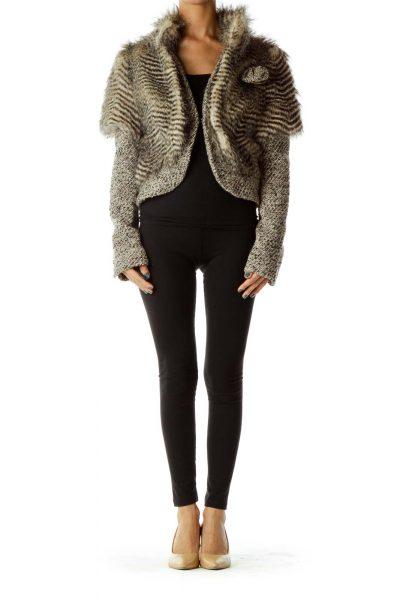 Brown Faux-Fur Tweed Jacket