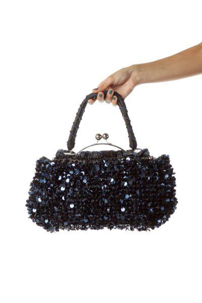 Blue Black Sequined Shoulder Bag