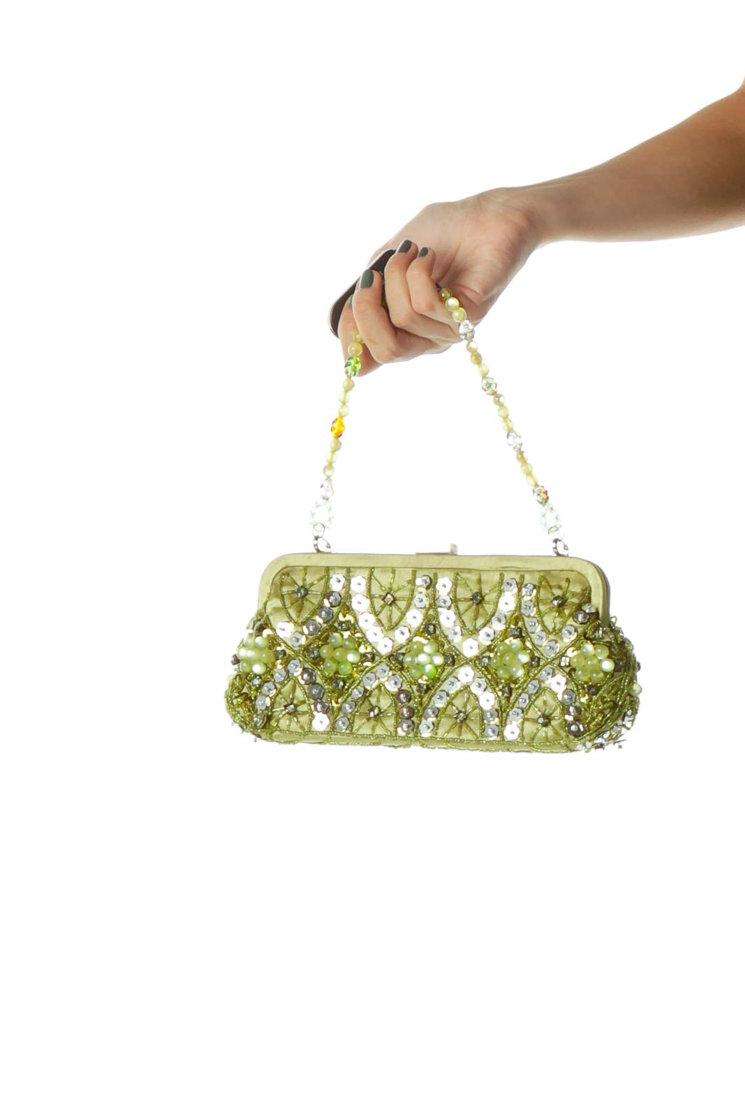 Green Beaded Sequined Clutch
