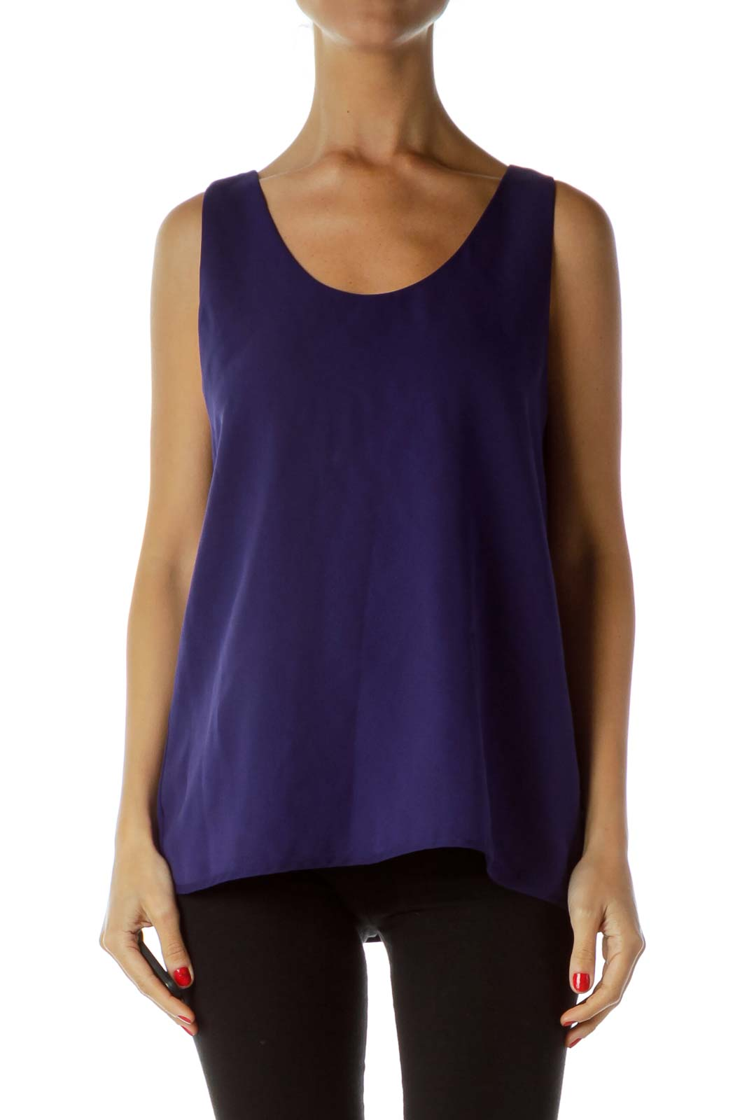 Purple Round Neck Tank Top