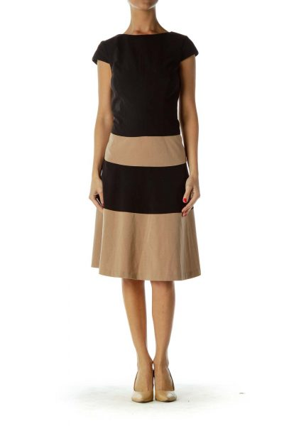 Black Beige Work Dress