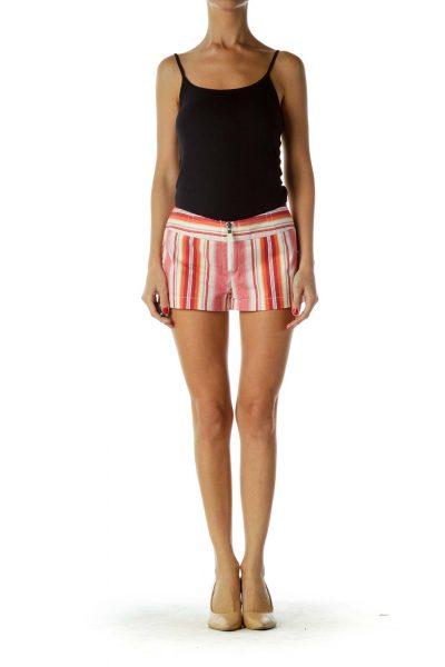 Red Beige Pinstripe Shorts