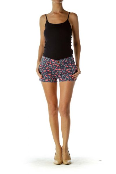 Blue Pink Floral Shorts