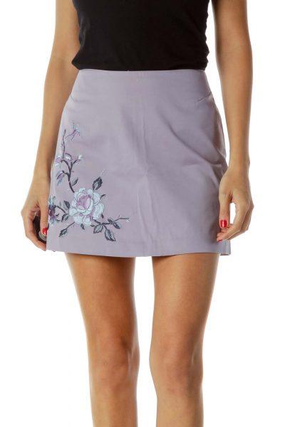 Purple Embroidered Mini Skirt
