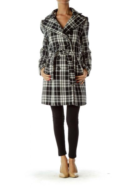 Black White Plaid Double Breasted Coat