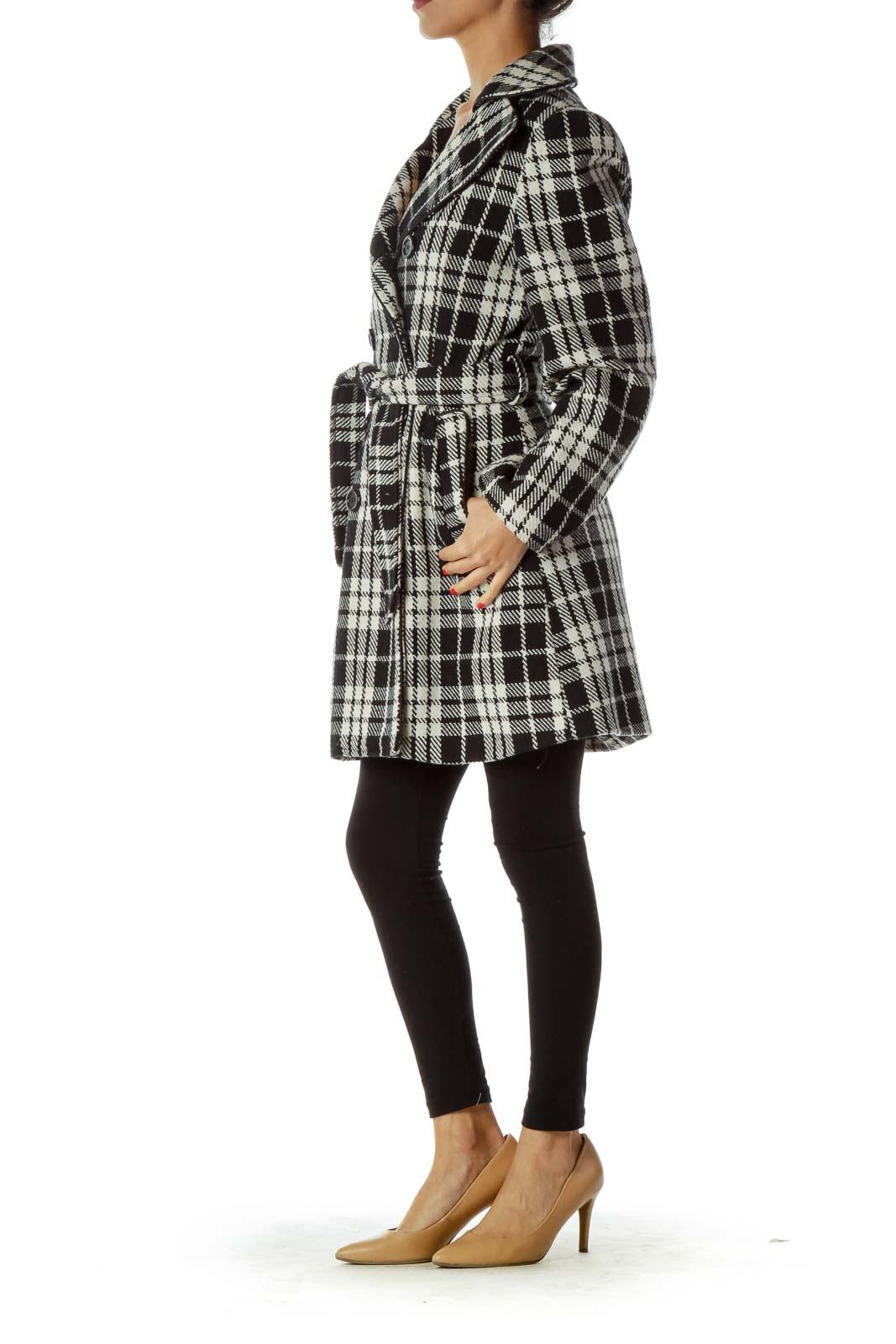 Black White Plaid Double Breasted Coat