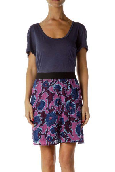 Blue Purple Floral Print Jersey Dress