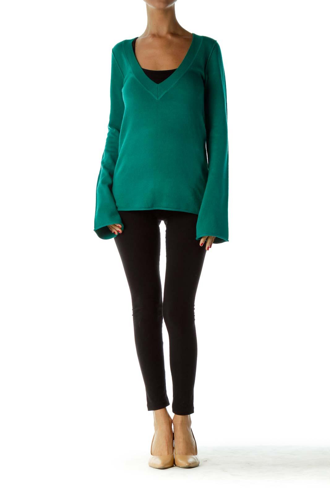 Green Knit V-Neck Sweater
