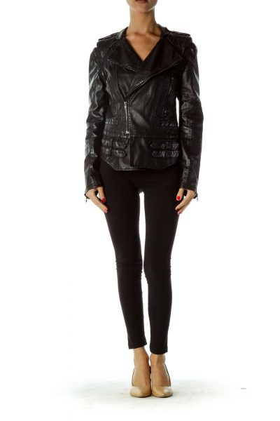 Black Convertible Faux-Leather Jacket