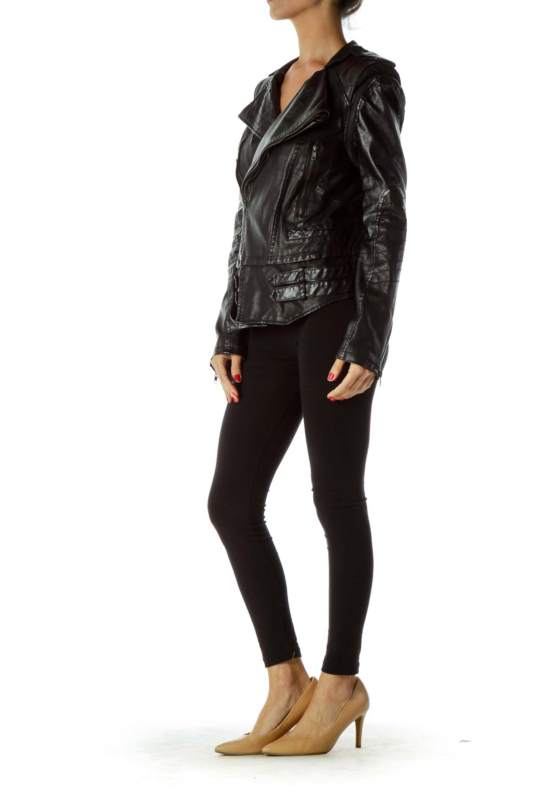 Black Convertible Faux-Leather Jacket