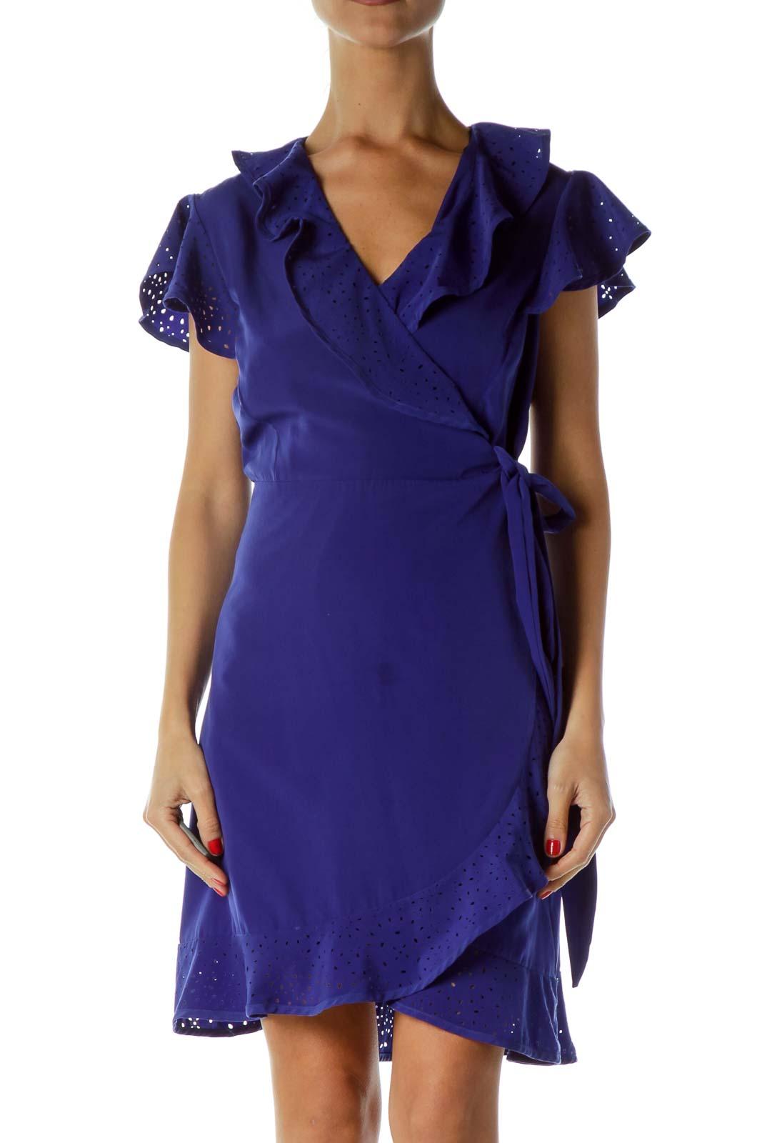 Blue Eyelet Wrap Cocktail Dress
