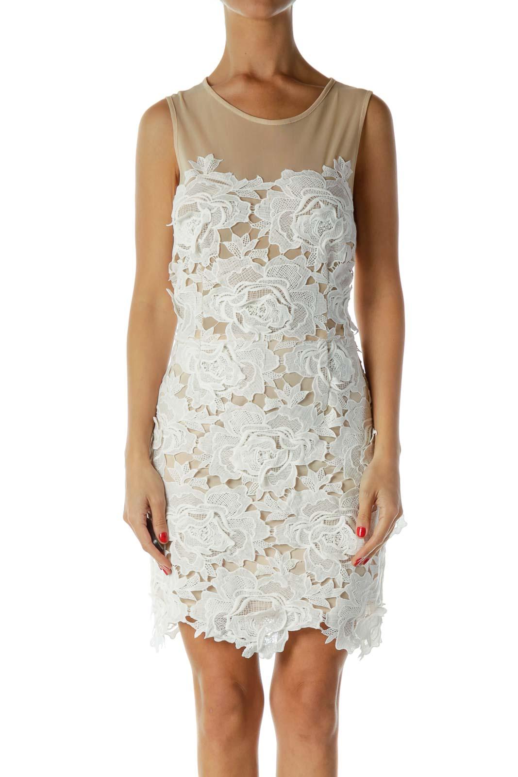 White Beige Lace Dress
