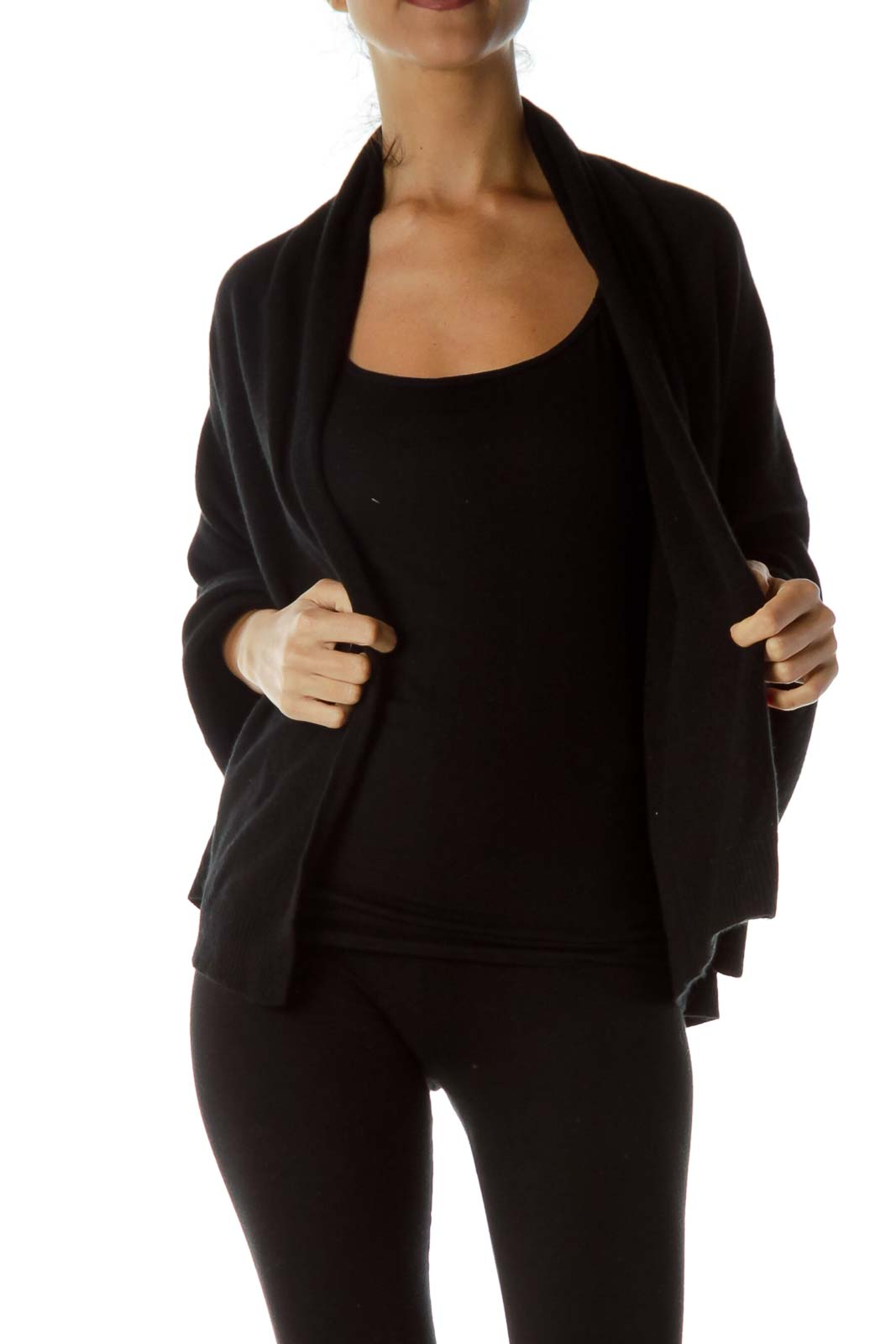 Black One Size Cashmere Cape