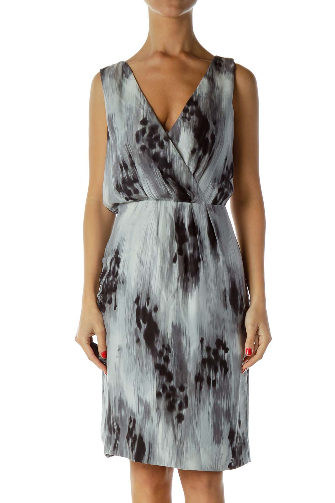 Gray Black Silk Work Dress