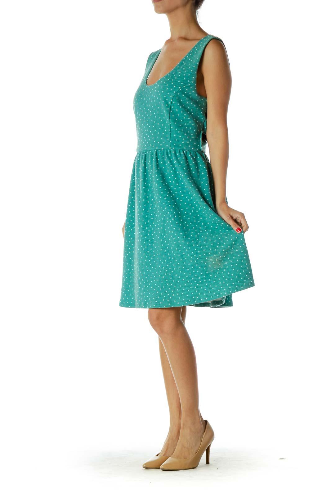 Green White Polka-Dot Day Dress