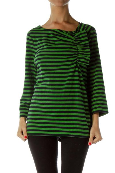 Green Black Pinstripe Scrunch Detail Top
