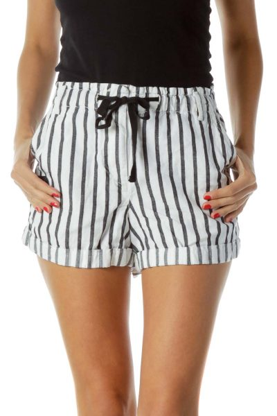 White Black Pinstripe Shorts