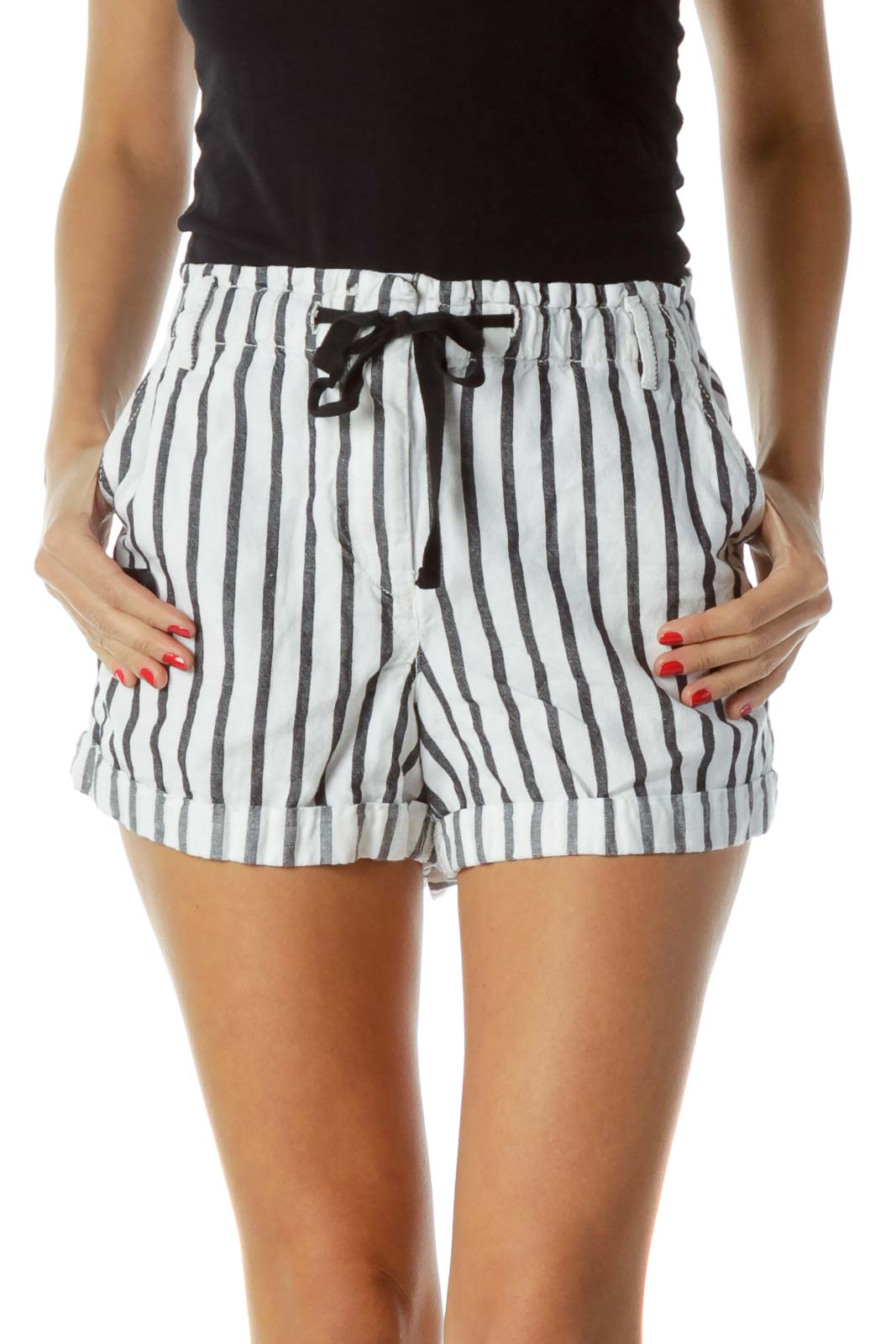 White Black Pinstripe Shorts
