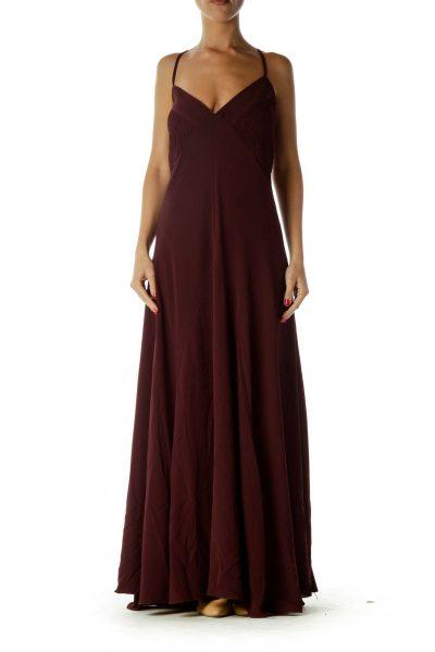 Burgundy Scrunch Detail Maxi Dress