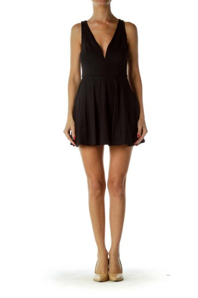 Black Sweetheart Neckline Romper Dress
