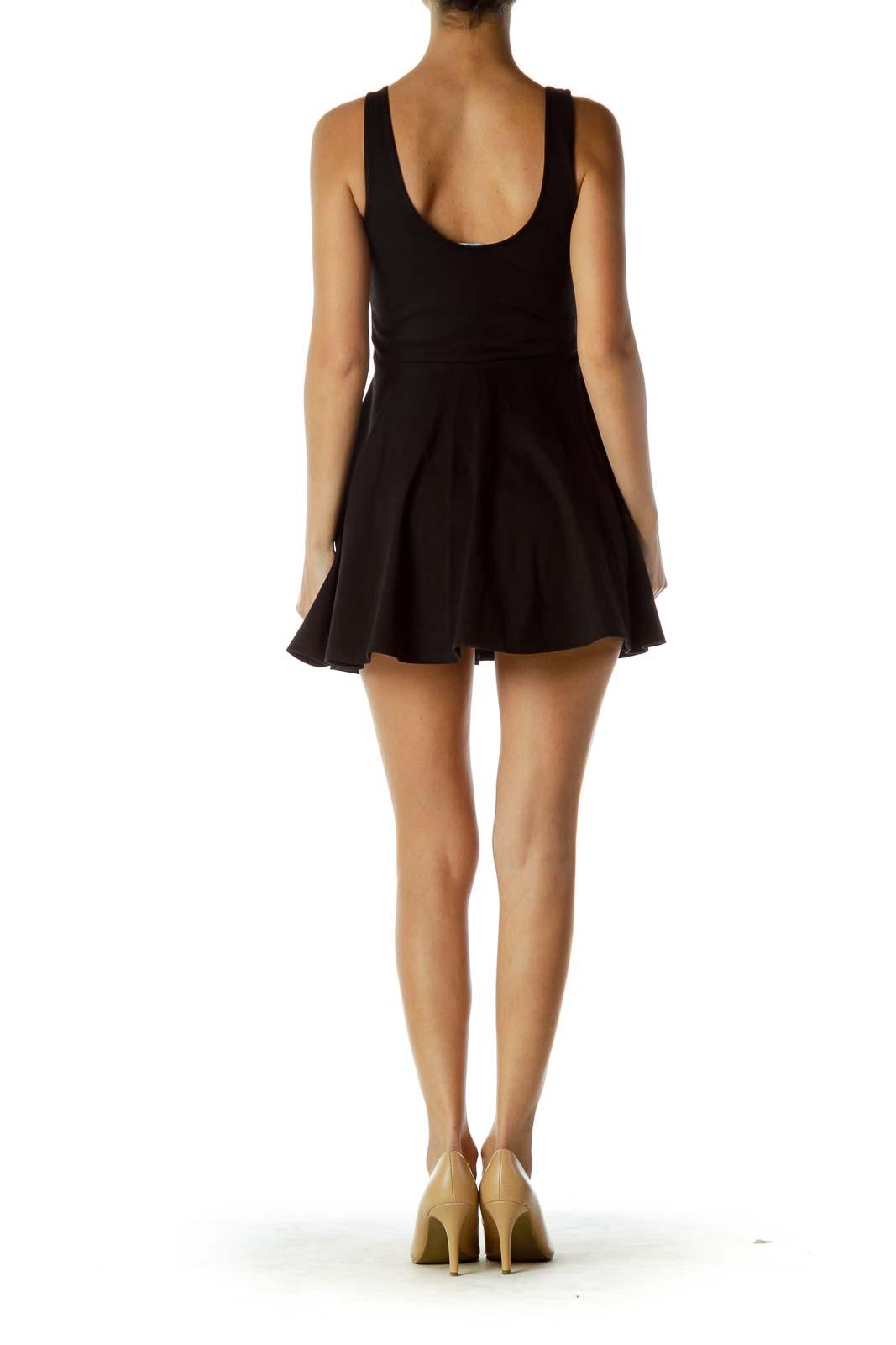 Black Sweetheart Neckline Romper Dress