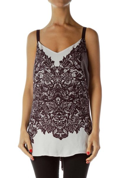 Purple Pink Print Tank Top