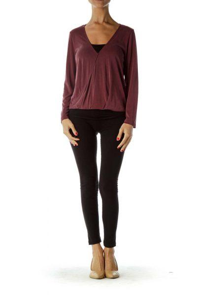 Purple Long Sleeve V-Neck Blouse