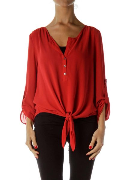 Red Buttoned Cropped Blouse