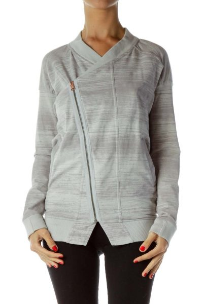 Gray Mottled Zippered Jacket