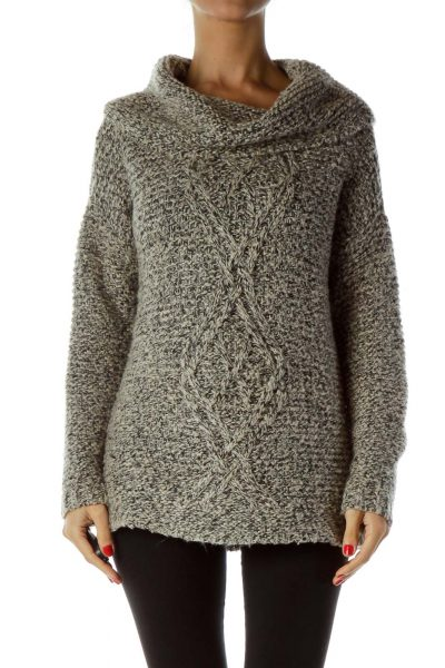 Gray Black Cable Knit Cowl Neck Sweater
