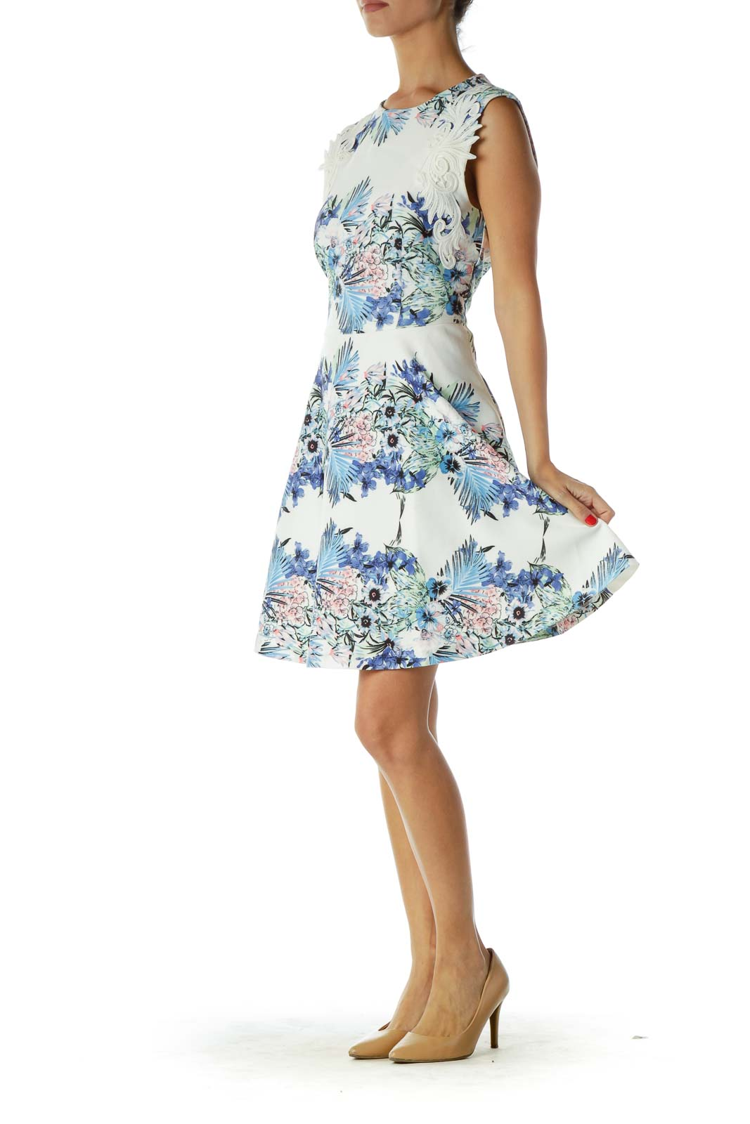 White Blue Floral Print Cocktail Dress