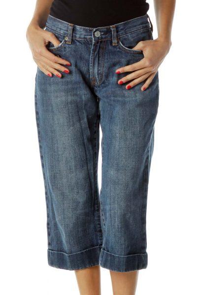 Blue Denim Cropped Cuffed Jeans