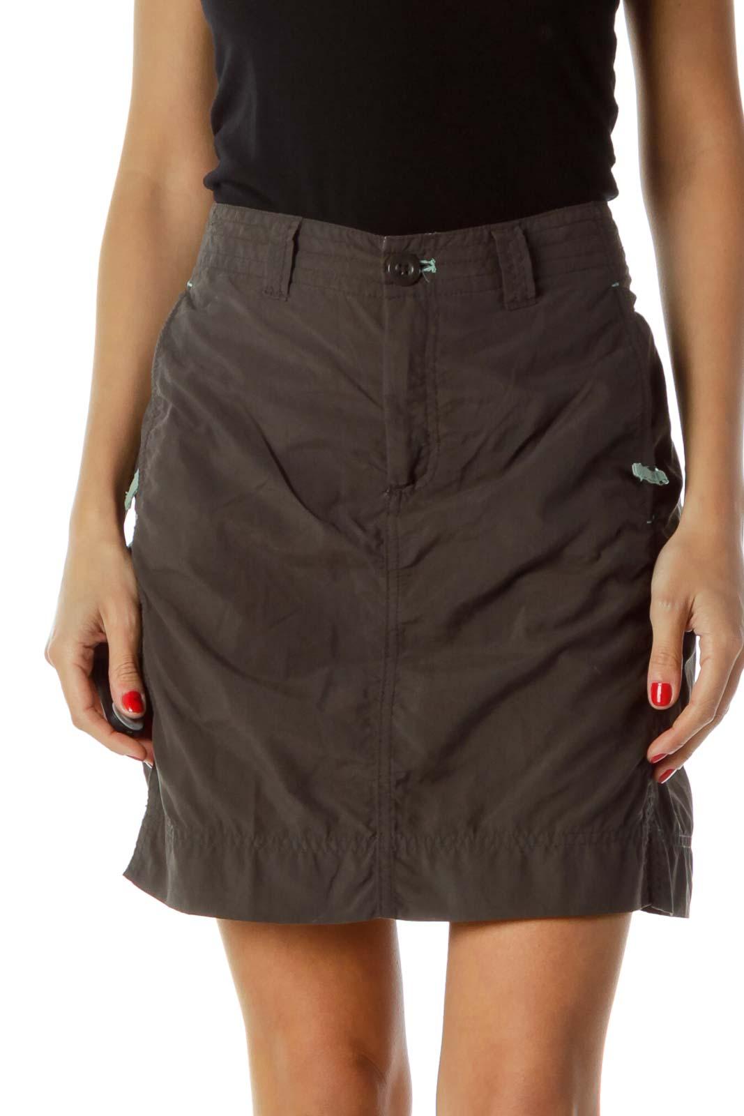 Gray Nylon Mini Skirt