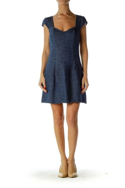Blue Knit Sweetheart Neck Dress