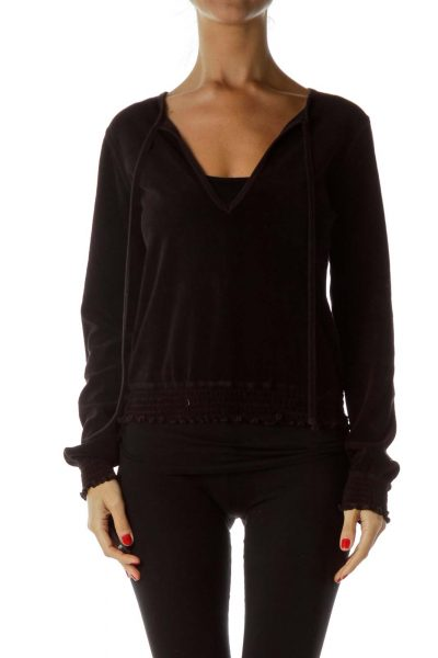 Black Terry Cloth Sweater