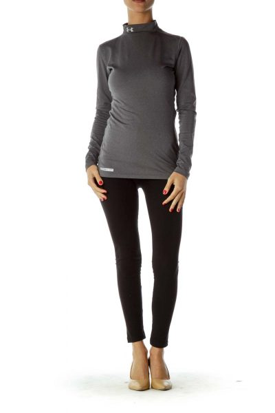 Gray Turtle Neck Sports Top