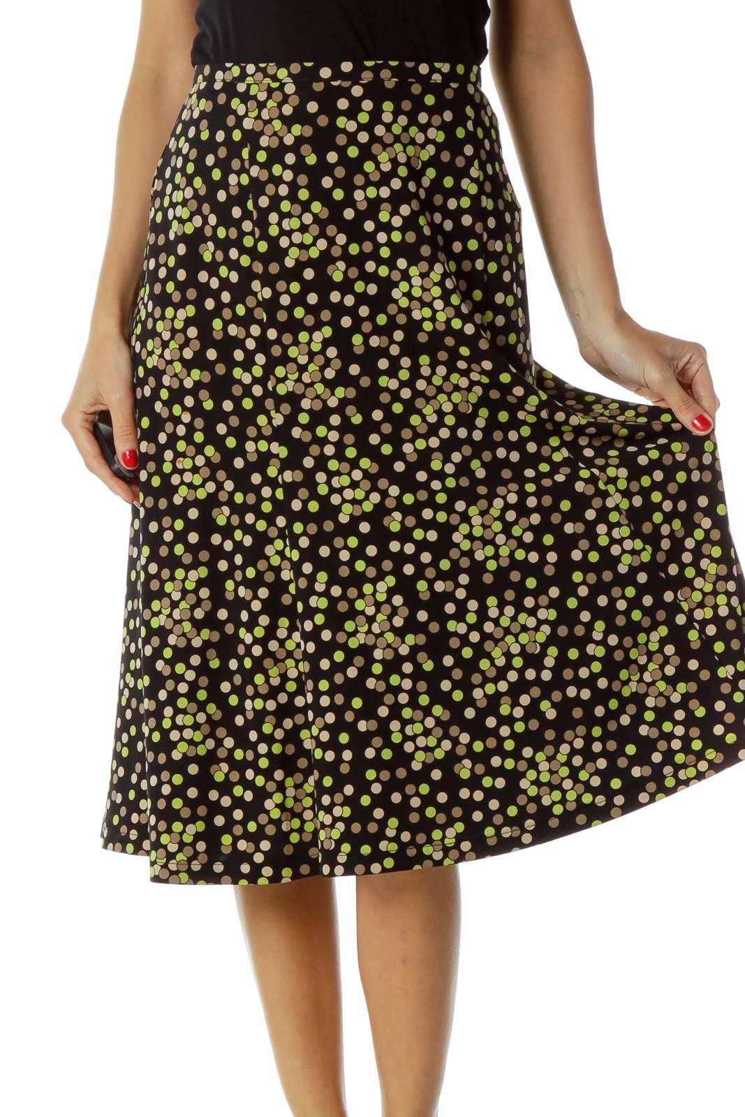 Black Green Polka-Dot Flared Skirt