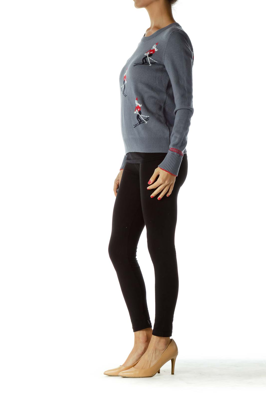 Gray Ski Print Sweater