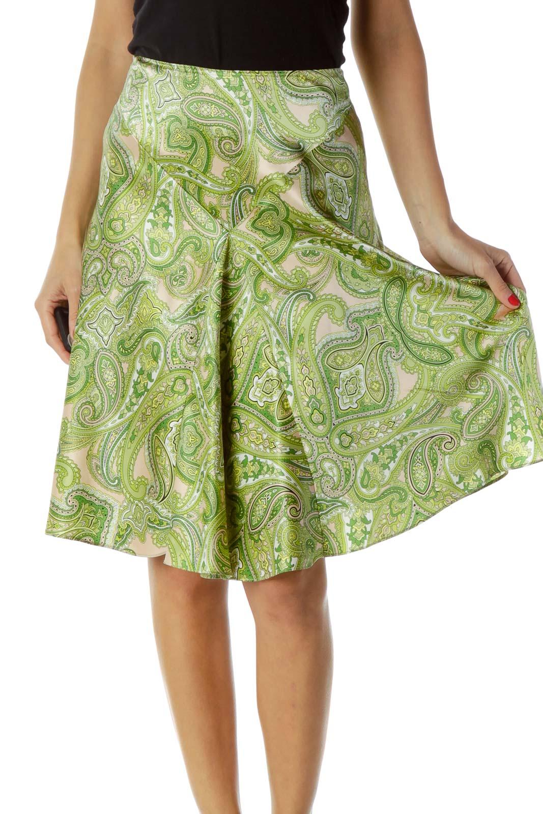 Green Paisley Print Silk Skirt