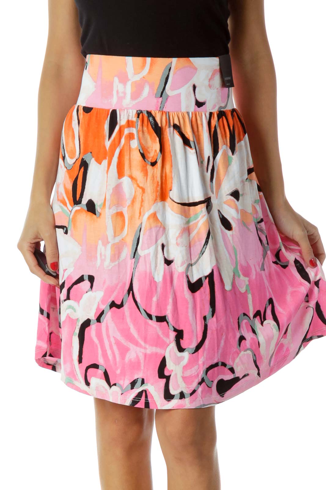 Pink Orange A-Line Mini Skirt
