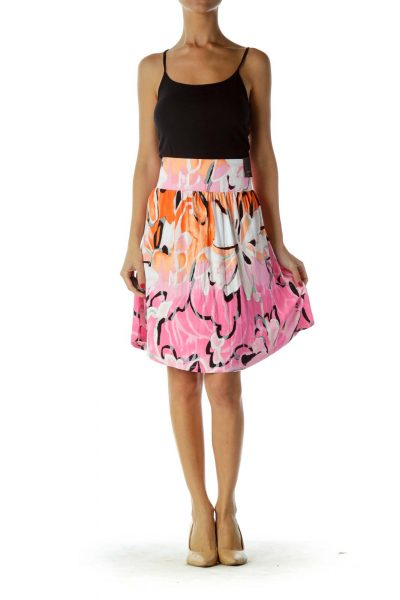 Pink Orange A-Line Mini Skirt