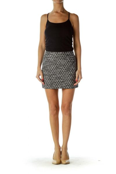 Black White Tweed Mini Skirt